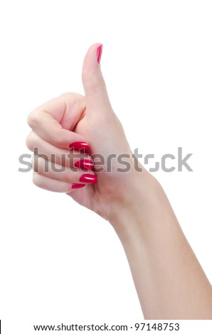Woman hand with red nails - stock photo