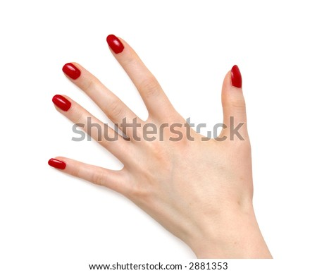 Woman hand with red nails. On white. - stock photo