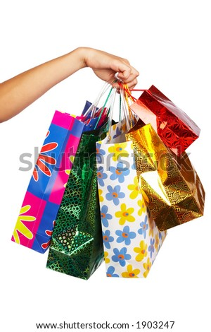 woman hand with shopping bags - stock photo
