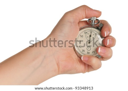 Woman hand with stopwatch isolated on white background - stock photo
