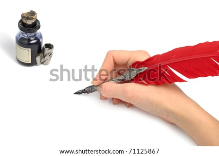 Woman hand with style antique quill writing near glass inkwell isolated over white background. Both clipping paths included. - stock photo