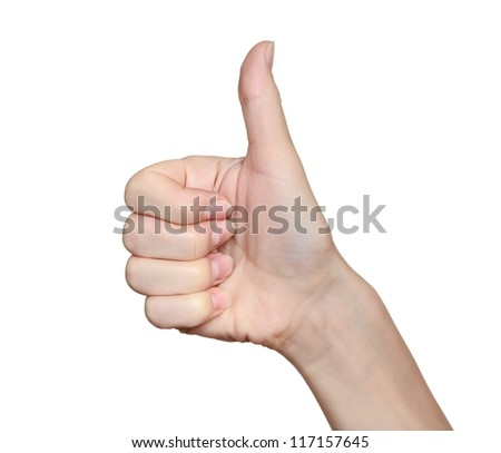Woman hand with thumb up isolated on white background. Ok sign - stock photo