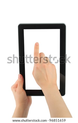 Woman hand with touch screen device on white background - stock photo