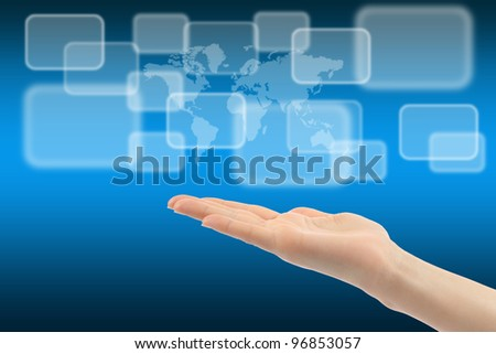 Woman hand with touch screen interface and world map on background