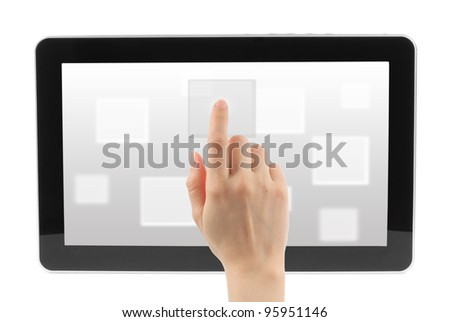 Woman hand with touch screen interface on white background - stock photo