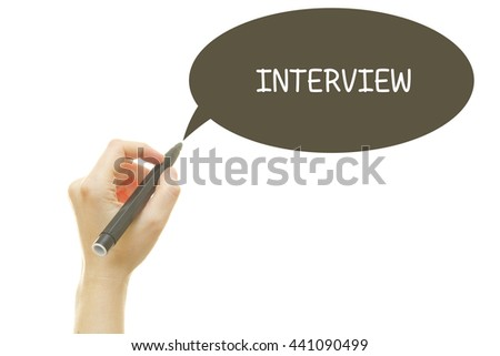 Woman hand writing INTERVIEW word with a marker isolated on white. - stock photo
