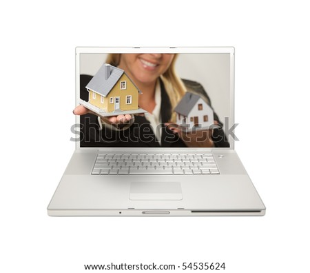Woman Handing House Through Laptop Screen Isolated on a White  Background. - stock photo
