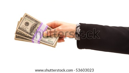 Woman Handing Over Hundreds of Dollars Isolated on a White Background.
