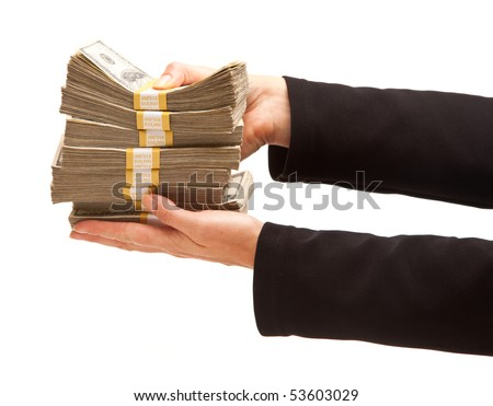 Woman Handing Over Hundreds of Dollars Isolated on a White Background. - stock photo