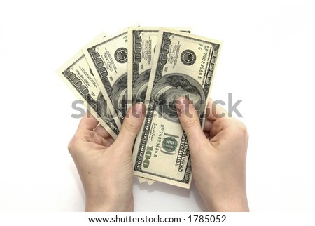 Woman hands counting dollar banknotes - stock photo
