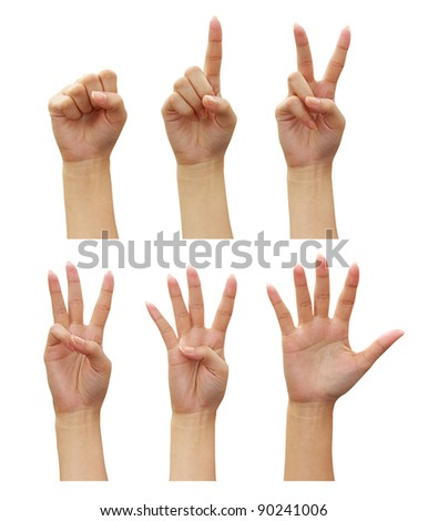 woman hands Counting (numbers zero to five) isolated on white background