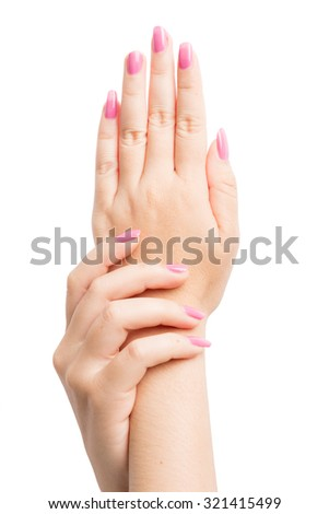 Woman Hands gestures on over white background - stock photo