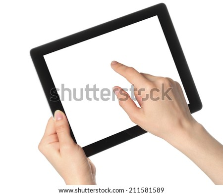 Woman hands hold and touch tablet PC on white background