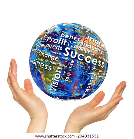 Woman hands hold Earth. On the globe written business words. Elements of this image are furnished by NASA - stock photo