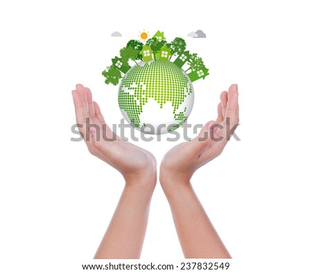Woman hands hold eco friendly earth on white background - stock photo