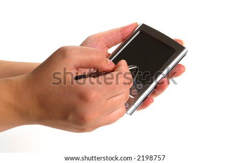 Woman hands holding a personal digital assistant PDA and writing with a stylus pen