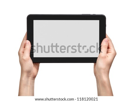 woman hands holding a tablet - stock photo