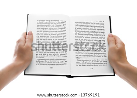 Woman hands holding an open book or giving it to anyone isolated with clipping path - stock photo