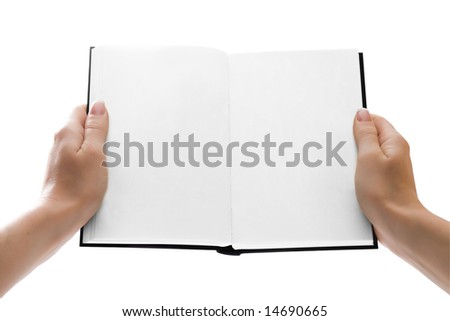 Woman hands holding an open book or giving it to anyone. Pages are blank. Isolated with clipping path - stock photo