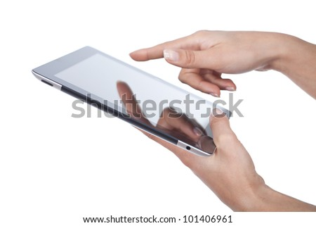 woman hands holding and point on modern electronic digital frame with blank screen - stock photo