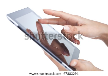 woman hands holding and point on modern electronic digital frame with blank screen