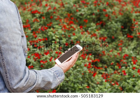 Woman Hands Holding Using Smart Phone Stock Photo - Colorful flower garden background