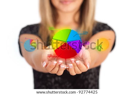 Woman hands holding Business symbol - stock photo
