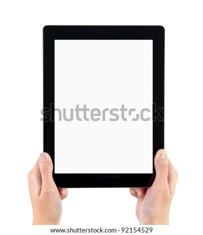 Woman hands holding contemporary generic tablet pc with blank screen. Isolated on white.