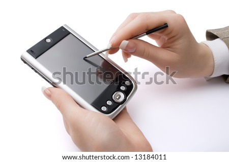 Woman hands holding pda and stylus, isolated, with clipping path