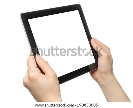 Woman hands holding tablet PC on white background - stock photo