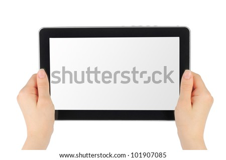 Woman hands holding touch screen device on white background