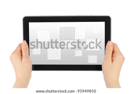 Woman hands holding touch screen device with virtual background - stock photo