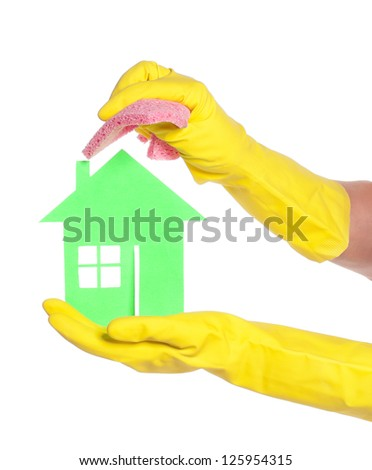 Woman hands holds paper house isolated on white background - stock photo