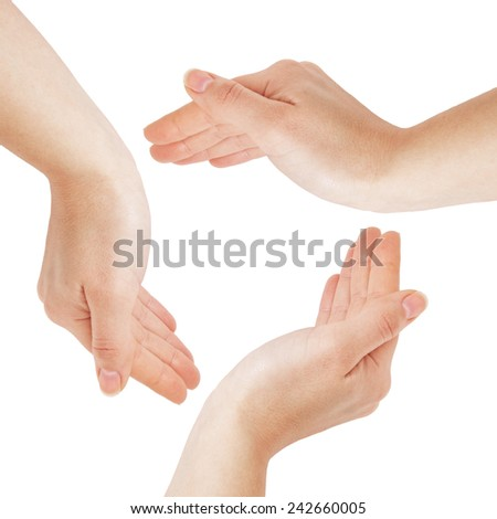 Woman hands in the round