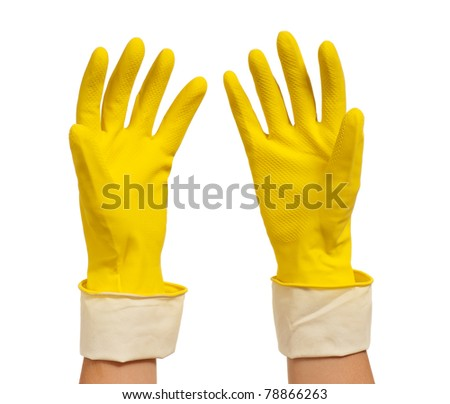 Woman hands in yellow gloves isolated on white background - stock photo