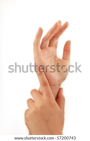 woman hands isolated on white background - stock photo