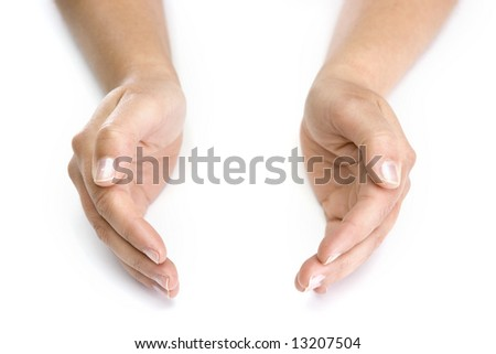 woman hands isolated on white background - good for insert your objects - stock photo