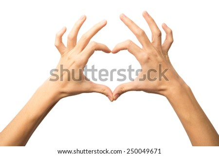 Woman hands making a heart shape on a white isolated background. Alpha. - stock photo