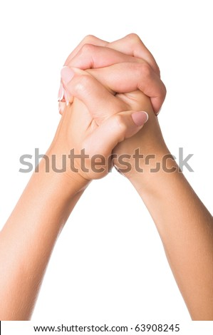 Woman hands making sign. Isolated on white background - stock photo