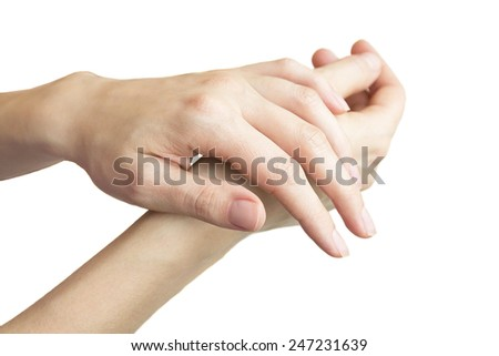 woman hands object isolated on white background
