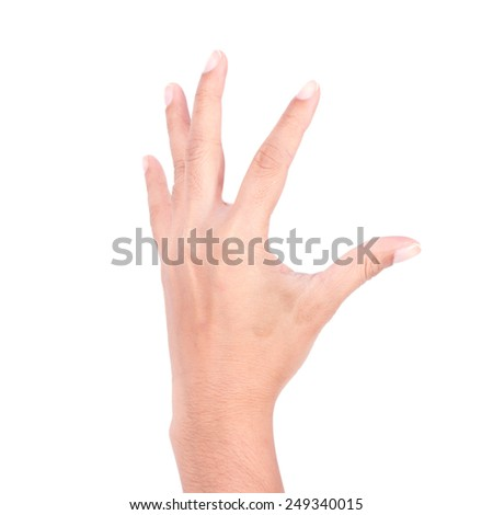 woman hands on white backgrounds