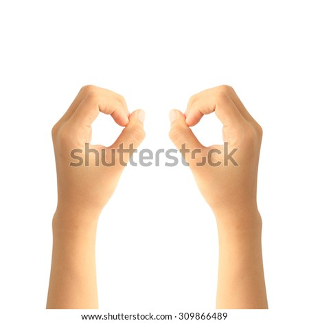 woman hands on white backgrounds - stock photo