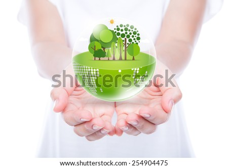 Woman hands over body hold eco friendly earth - stock photo