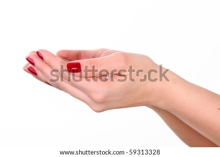 Woman hands over white background. giving or receiving