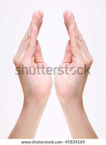 Woman hands over white background. Isolated image