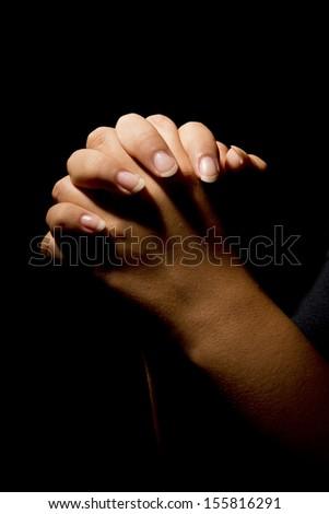 Woman hands praying - stock photo