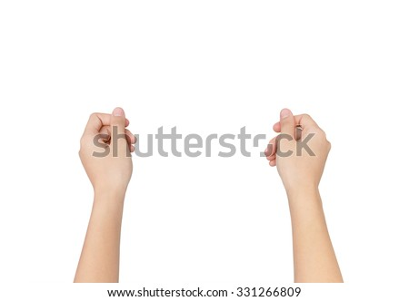 Woman hands to hold paper sheet isolated on white background with clipping path. - stock photo