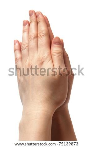 woman hands together symbolizing prayer and gratitude. isolated on white background - stock photo