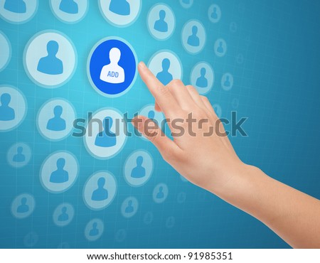 Woman hands touch social media icon on futuristic screen.