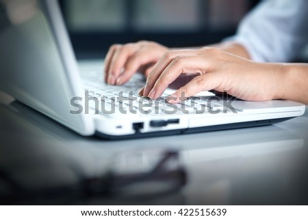 woman Hands  typing - stock photo